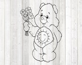 Cute pet bear with sun on the belly and bunch of flowers. Vector cutting file for Silhouette Cameo and Cricut; SVG, Studio3, PNG + EPS.