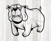 English bulldog; bull dog with teeth. Vector cutting file for Silhouette Cameo and Cricut; SVG, Studio3, PNG + EPS.