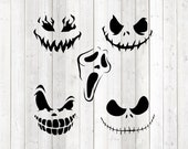 Set of 5 scary faces; Halloween pumpkins or mouth masks. Vector cutting file for Silhouette Cameo and Cricut; SVG, Studio3, PNG + EPS.