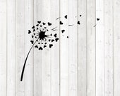 Dandelion with hearts. It's Dandelion. Vector cutting file for Silhouette Cameo and Cricut; SVG, Studio3, PNG + EPS.