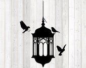 Birds around a lamp. Oriental lamp silhouette. Vector cutting file for Silhouette Cameo and Cricut; SVG, Studio3, PNG + EPS.