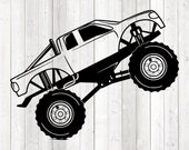 Big monster truck jumping up. Vector cutting file for Silhouette Cameo and Cricut; SVG, Studio3, PNG + EPS.