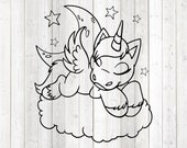 Sleeping unicorn in the clouds between the stars. Vector cutting file for Silhouette Cameo and Cricut; SVG, Studio3, PNG + EPS.