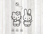 The famous kitten with the hair bow and the bunny. Vector cutting file for Silhouette Cameo and Cricut; SVG, Studio3, PNG + EPS.