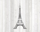 Geometric Eiffel Tower figure; icon of France, Paris. Vector cutting file for Silhouette Cameo and Cricut; SVG, Studio3, PNG + EPS.