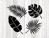 Set different leaves. Vector cutting file for Silhouette Cameo and Cricut; SVG, Studio3, PNG + EPS.