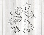 Set with space shuttle, UFO, moon, stars and planets. Vector cutting file for Silhouette Cameo and Cricut; SVG, Studio3, PNG + EPS.