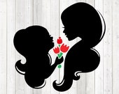 Mother's Day. Mother and daughter with flowers. Tulips. Vector cutting file for Silhouette Cameo and Cricut; SVG, Studio3, PNG + EPS.