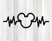 Heart rate with the familiar mouse with very large ears. Vector cutting file for Silhouette Cameo and Cricut; SVG, Studio3, PNG + EPS.