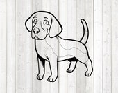 Beagle, standing dog. Vector cutting file for Silhouette Cameo and Cricut; SVG, Studio3, PNG + EPS.