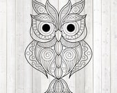 Mandala big owl. Zentangle. Vector cutting file for Silhouette Cameo and Cricut; SVG, Studio3, PNG + EPS.
