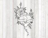 Big heart with rose and banner in tattoo style. Vector cutting file for Silhouette Cameo and Cricut; SVG, Studio3, PNG + EPS.
