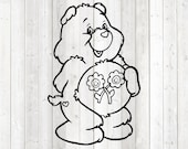 Cute pet bear with flowers on the belly. Vector cutting file for Silhouette Cameo and Cricut; SVG, Studio3, PNG + EPS.
