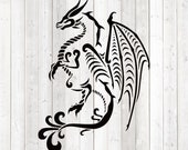 Stylized dragon with long tail and big wings. Vector cutting file for Silhouette Cameo and Cricut; SVG, Studio3, PNG + EPS.