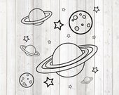 Set with moon, stars and planets. Vector cutting file for Silhouette Cameo and Cricut; SVG, Studio3, PNG + EPS.