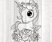Cute unicorn with flowers. Vector cutting file for Silhouette Cameo and Cricut; SVG, Studio3, PNG + EPS.