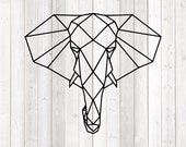 Geometric figure of an elephant; lines only. Vector cutting file for Silhouette Cameo and Cricut; SVG, Studio3, PNG + EPS.