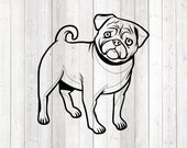 Pug, standing dog. Vector cutting file for Silhouette Cameo and Cricut; SVG, Studio3, PNG + EPS.