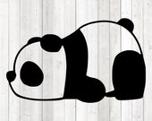 Funny lazy panda, lying down, sleeping. Vector cutting file for Silhouette Cameo and Cricut; SVG, Studio3, PNG + EPS.