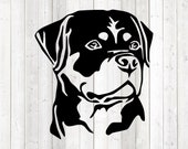 Rottweiler, head. Vector cutting file for Silhouette Cameo and Cricut; SVG, Studio3, PNG + EPS.