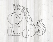 Cute unicorn sitting with closed eyes. Vector cutting file for Silhouette Cameo and Cricut; SVG, Studio3, PNG + EPS.