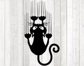 Funny cat with sharp claws. Vector cutting file for Silhouette Cameo and Cricut; SVG, Studio3, PNG + EPS.