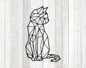 Geometric figure of a cat; lines only. Vector cutting file for Silhouette Cameo and Cricut; SVG, Studio3, PNG + EPS.