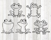 Set of cheerful frogs. Vector cutting file for Silhouette Cameo and Cricut; SVG, Studio3, PNG + EPS.