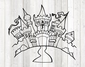 Fairytale castle; medieval castle. Vector cutting file for Silhouette Cameo and Cricut; SVG, Studio3, PNG + EPS.