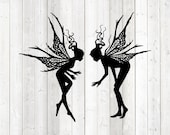 Set of 2 very detailed flying elves. Vector cutting file for Silhouette Cameo and Cricut; SVG, Studio3, PNG + EPS.