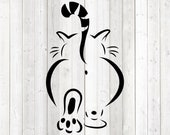 Ass of a fat cat with tail up. Vector cutting file for Silhouette Cameo and Cricut; SVG, Studio3, PNG + EPS.