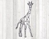 Geometric giraffe, shape in lines. Vector cutting file for Silhouette Cameo and Cricut; SVG, Studio3, PNG + EPS.