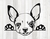Chihuahua portrait. Dog. Vector cutting file for Silhouette Cameo and Cricut; SVG, Studio3, PNG + EPS.