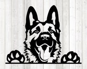 German Shepherd portrait. Vector cutting file for Silhouette Cameo and Cricut; SVG, Studio3, PNG + EPS.