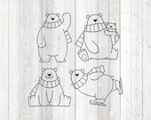 Set of cute polar bears. Vector cutting file for Silhouette Cameo and Cricut; SVG, Studio3, PNG + EPS.