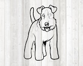 Airedale Terrier, standing dog. Vector cutting file for Silhouette Cameo and Cricut; SVG, Studio3, PNG + EPS.