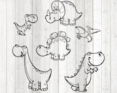 Set of 2 funny dinosaurs, in cartoon style. Vector cutting file for Silhouette Cameo and Cricut; SVG, Studio3, PNG + EPS.