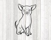 Chihuahua, seated dog. Vector cutting file for Silhouette Cameo and Cricut; SVG, Studio3, PNG + EPS.