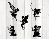 Set of 5 fairies, flying and kneeling. Vector cutting file for Silhouette Cameo and Cricut; SVG, Studio3, PNG + EPS.