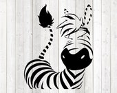 Zebra with funny look; without outline. Vector cutting file for Silhouette Cameo and Cricut; SVG, Studio3, PNG + EPS.