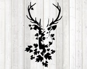 Deer with large antlers and leaves. Vector cutting file for Silhouette Cameo and Cricut; SVG, Studio3, PNG + EPS.