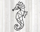 Geometric figure of a seahorse; lines only. Vector cutting file for Silhouette Cameo and Cricut; SVG, Studio3, PNG + EPS.