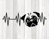 Heartbeat with pug head. Vector cutting file for Silhouette Cameo and Cricut; SVG, Studio3, PNG + EPS.
