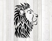 Lion's head in tattoo style; lion; wildlife. Vector cutting file for Silhouette Cameo and Cricut; SVG, Studio3, PNG + EPS.