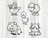 Set of 5 cute farm animals. Vector cutting file for Silhouette Cameo and Cricut; SVG, Studio3, PNG + EPS.