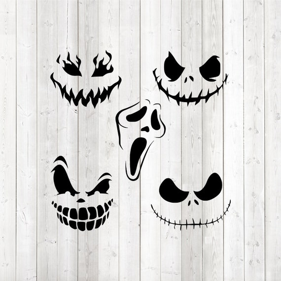 Set of 5 scary faces Halloween pumpkins or mouth masks