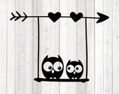 Owls on swing with arrow and hearts. Rocking birds. Vector cutting file for Silhouette Cameo and Cricut; SVG, Studio3, PNG + EPS.