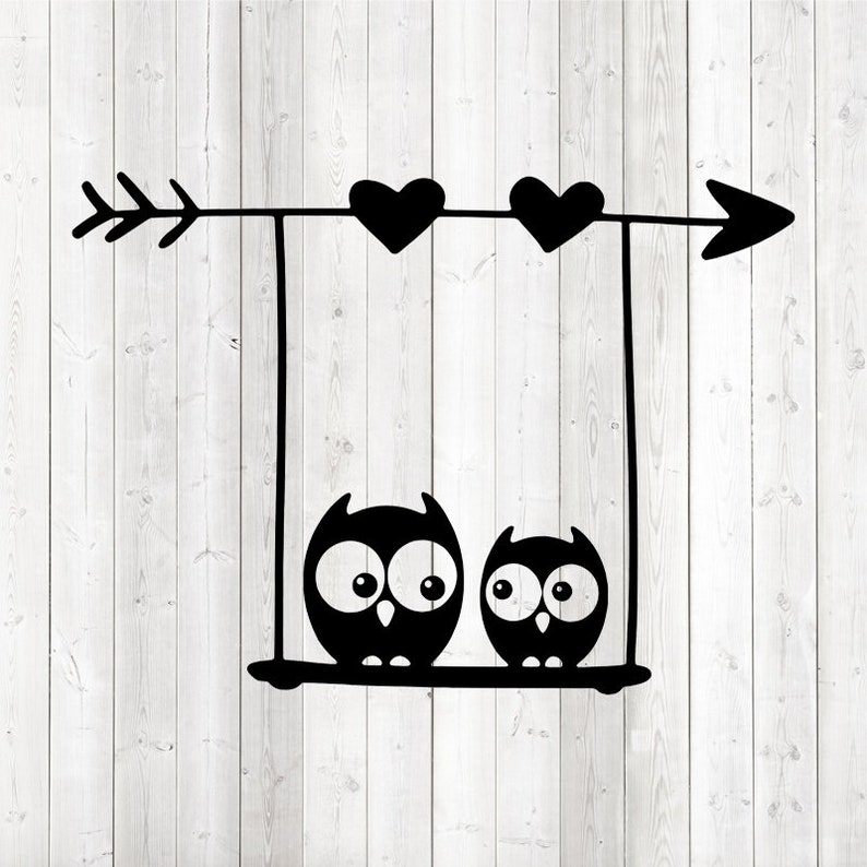 Studio3 Owls on swing with arrow and hearts Rocking birds PNG EPS. Vector cutting file for Silhouette Cameo and Cricut; SVG
