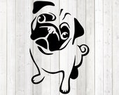 Cute pug, sitting with crooked head, begging. Vector cutting file for Silhouette Cameo and Cricut; SVG, Studio3, PNG + EPS.