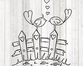 Love birds; birdies on fence. Vector cutting file for Silhouette Cameo and Cricut; SVG, Studio3, PNG + EPS.